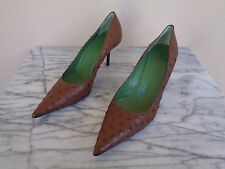 Gucci Size 9B 9 B Brown Ostrich Heels Pumps Shoes