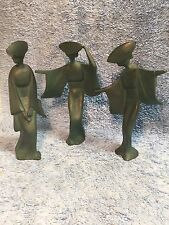"Mid Century Bronze Set 3 Heavy Metal Japanese Statue of Woman Kimono 10"" Geisha"