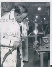 1935 Man Demonstrates Acetylene Torch For Plumbing New Fittings Press Photo