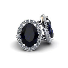 14K WHITE GOLD 1 1/3 CARAT OVAL SHAPE SAPPHIRE AND HALO DIAMOND STUD EARRINGS