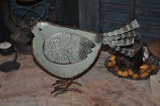 Primitive Folk Art Metal / Tin Sage Green Bird Wire Feet Green paint over Rust