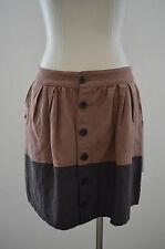 NWT QSW Quiksilver X SMALL XS S Silk Linen Brown Pockets High Waist Short Skirt