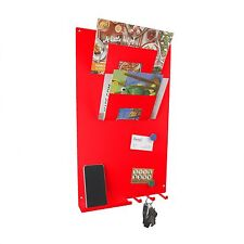 RED 3 in 1 Magnetic Memo board letter rack and key holder by The Metal House