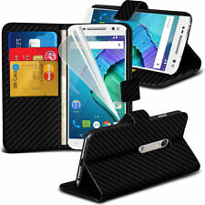 Carbon Fibre Wallet Flip Case Cover For Motorola Moto X Style
