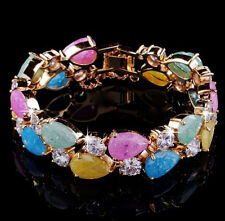 14k Rose Gold GF Bracelet made w/ Authentic Swarovski Crystal Multicolor Stone
