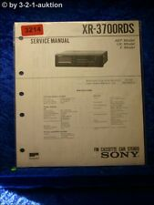 Sony Service Manual XR 3700RDS Cassette Car Stereo (#3214)