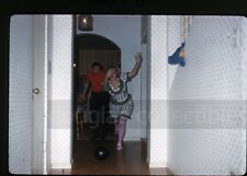 1960s  Kodachrome photo slide New Years Eve House Party Costume Lady Bowling