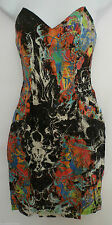 New Motel Rocks Size S 10 Strapless Cosmic Boogie Graffiti Paint Splash Dress