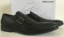 BASE LONDON SPICE BUCKLE BLACK LEATHER SHOES SIZE 10