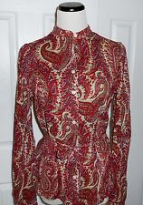 New $89 RALPH LAUREN Paisley Cotton Mandarin Collar l/s Button Front Blouse XS