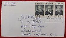 1965 U.S.A Sir Winston Churchill MEMORIAM FDC IN COPERTINA tinta unita, Posta Aerea blocco di 3