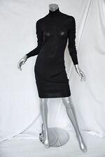 ALEXANDER MCQUEEN Dark-Blue Stretch High-Neck Cross-Over Knee-Length Dress M