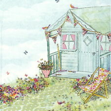 4 Single Table Party Paper Napkins for Decoupage Decopatch Summerhouse in Garden