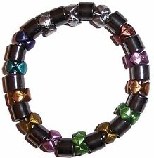 MAGNETIC HAEMATITE and METALLIC COLOURED BEAD BRACELET HEMATITE mg11y