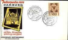1959 Ersttag FDC Briefmarke Bund 20+10 Pfenning Interposta HAMBURG Sonderstempel