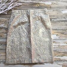 Skirt Pencil Brocade Gold Flower 8 Womens Roses Work Valentines Midnight Velvet