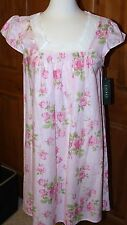 New NWT Ralph Lauren 100% Cotton Nightgown Womens Gown Sleepwear M Pink Roses