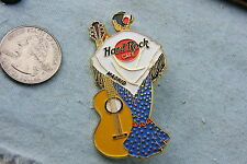 HARD ROCK CAFE PIN MADRID FLAMENCO LADY (BACK SIDE ) WITH YELLOW ACOUSTIC GUITAR