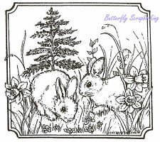 Easter Bunnies Spring Flowers Wood Mounted Rubber Stamp NORTHWOODS MM8549 New