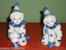 CUTE Vintage PAIR of CLOWN CLOWNS Ceramic ORNAMENTS Figurines