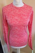 ADIDAS Ladies Running Gym Long Sleeve T-Shirt Pink & Thumb Hole Size M (12-14)