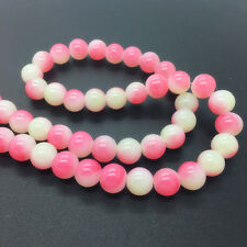 New 8mm 30Pcs Double Colors Glass Round Pearl Loose Beads Jewelry Making #8m09