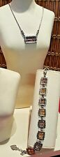Brigton Crystal Necklace & Bracelet -Yellow Silver NWT
