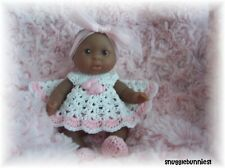 "ADORABLE PINK BUNNY BUTTON DRESS FITS 5"" BERENGUER BABY REBORN OOAK !"