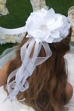 Flower Girl Bridesmaid  White Hair Accessory Satin & Tulle Flowers on Comb