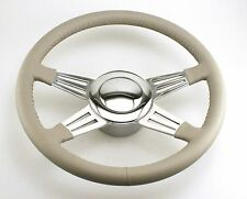 "Southern Rods SRP500 14"" 4 Spoke Steering Wheel GREY with button/adapter GM FORD"