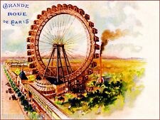 1900 Grande Roue de Paris France Vintage European Travel Poster Advertisement