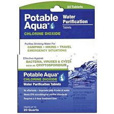 NEW Potable Aqua Chlorine Dioxide Water Purification Military / Survival 20-Tabs