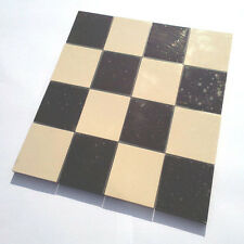 Victorian reproduction floor tiles on sheet - black & white 70mm squares (x16)
