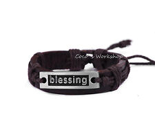 DARK BROWN LEATHER BLESSING SLOGAN CORD SURFER BRACELET JEWELLERY MENS WOMENS