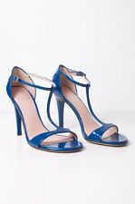 STUART WEITZMAN Blue Sinful Patent Leather T Strap High Heel Sandal 5.5/35.5