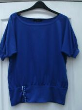 DEFDI ROYAL BLUE MID SLEEVE WIDE NECK OFFSET BUTTON FRONT DETAIL SMOCK TUNIC TOP