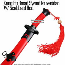 Qing Dynasty Ox Tail Kung Fu Broad Sword w/ Scab Red