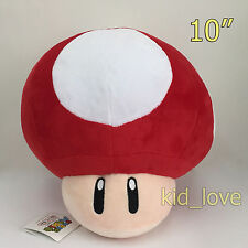 New Super Mario Bros. Plush Red Mushroom Soft Toy Stuffed Animal Teddy Doll 10""