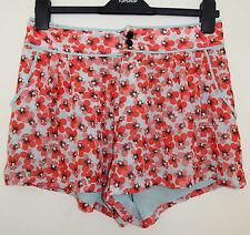 H&M ORANGE TURQUOISE FLORAL CHIFFON DAISY  FORMAL HOT PANTS SHORTS 10 S