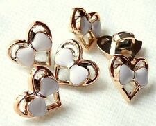LOT 5 BOUTONS COEUR BLANC DORE NOEUDS SCRAPBOOKING COUTURE MARIAGE CHEMISIER