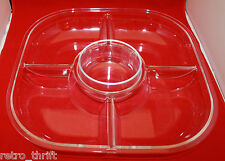 Mid Century Modern Vintage Guzzini Plastic Chip N Dip Serving Party Plate Clear