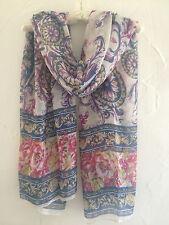 Striking Vintage Floral Ladies Denim Blue Beige Red Long Summer Scarf Wrap