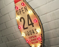 Rustic Vintage Metal OPEN 24 HOURS Bowling Ball Alley Pin Tin Marquee Sign Light