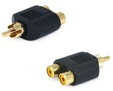 RCA AV Audio Y Splitter Gold Plug 1 Male to 2 Female Adapter - phone.