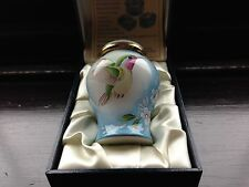 MOORCROFT HUMMING BIRD ENAMEL LIDDED VASE- BOXED AND FIRST QUALITY