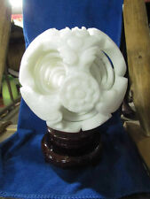 Fancy 8 Layers Hand Carved White Jade Puzzle Sphere Ball W/ Stand ~Huge!