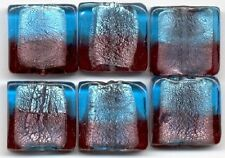 Aqua & Amethyst Silver Foil Square Lampwork Glass Beads