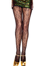 Women's Lace Pantyhose Large Floral Vine Design on Fishnet Net Stockings OS USA