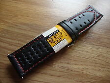 Mens DILOY ELITE 24mm Black//Red Leather Racing/Rally Watch Strap,S/S Buckle