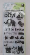 Inkadinkado Clear Stamp Set #97605 Baby Boy Unmounted Clear 13 Stamps NEW